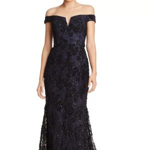 Aqua Lace Overlay Navy Gown-Worn Once